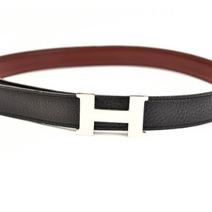 HERMES Black/Deep Red Reversible Leather H Belt qx